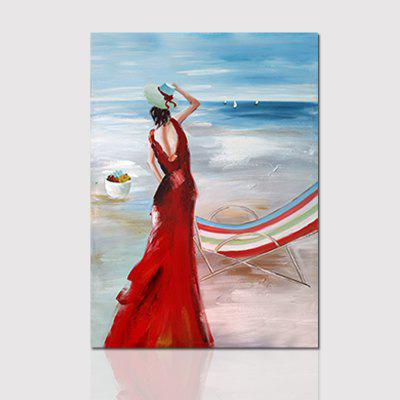 Hx-Art Unframed Canvas Back Corridor Decoration Painting The Living Room Wearing A Red Skirt Girl On The Beach