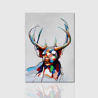 Hx-Art No Frame Lona Color Deer Cabeza Animal-B Pintura Decorativa