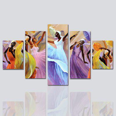Hx-Art No Frame Canvas Five Sets of Painting And Dance Background Dancers In The Living Room Sofa Decorative Paintings