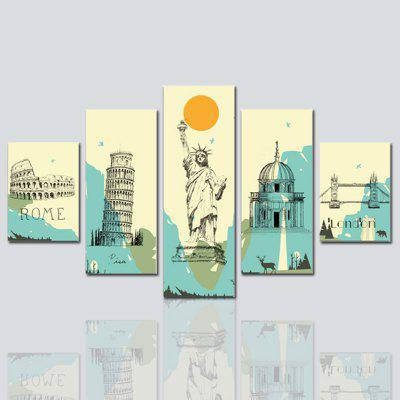 Hx-Art No Frame Five-Set Painting Background Decorative the Statue of Liberty, The Sofa Hd Micro-Jet Paintings