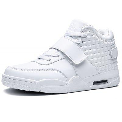 Breathable Solid Color Rivets SneakersAthletic Shoes<br>Breathable Solid Color Rivets Sneakers<br><br>Available Size: 39-46<br>Closure Type: Lace-Up<br>Feature: Height Increasing<br>Gender: For Men<br>Outsole Material: Rubber<br>Package Contents: 1 ? Pair of Shoes<br>Pattern Type: Others<br>Season: Winter<br>Shoe Width: Medium(B/M)<br>Upper Material: Flock