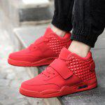 Breathable Solid Color Rivets Sneakers - RED