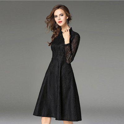 Tang Tangkou Deduction Slim Lace DressWomens Dresses<br>Tang Tangkou Deduction Slim Lace Dress<br><br>Dresses Length: Knee-Length<br>Elasticity: Micro-elastic<br>Fabric Type: Lace<br>Material: Cotton Blend, Lace<br>Neckline: Mandarin Collar<br>Package Contents: 1 x Dress<br>Pattern Type: Solid<br>Season: Winter, Spring, Fall<br>Silhouette: Sheath<br>Sleeve Length: Long Sleeves<br>Style: Vintage<br>Waist: Natural<br>Weight: 0.4300kg<br>With Belt: No