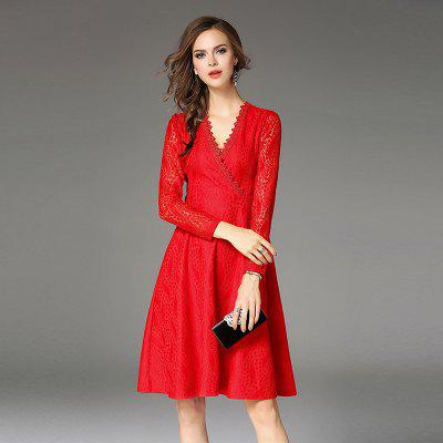 New Long Sleeves V Collar Lace DressWomens Dresses<br>New Long Sleeves V Collar Lace Dress<br><br>Dresses Length: Knee-Length<br>Elasticity: Elastic<br>Embellishment: Adjustable Waist<br>Fabric Type: Lace<br>Material: Lace<br>Neckline: V-Neck<br>Package Contents: 1 x Dress<br>Pattern Type: Solid<br>Season: Fall, Spring<br>Silhouette: Ball Gown<br>Sleeve Length: Long Sleeves<br>Style: Vintage<br>Waist: Natural<br>Weight: 0.4300kg<br>With Belt: Yes