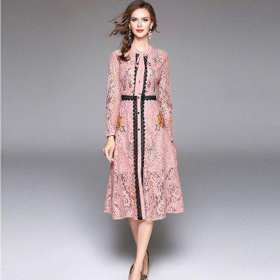 Buy PINK L Lace Embroidery Waist Long Sleeves Dress for $40.28 in GearBest store