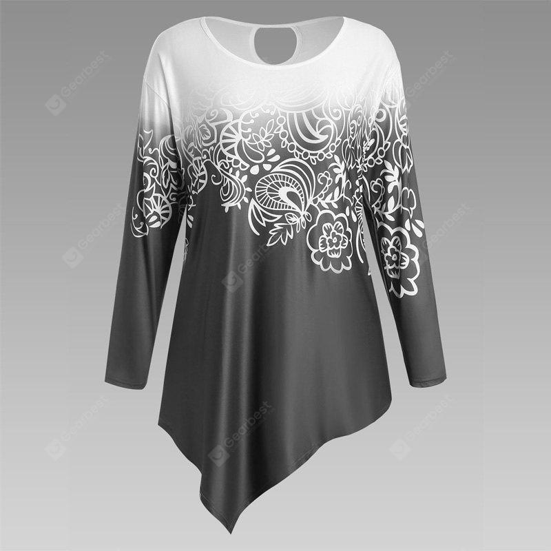 Autumn New Printing Irregular Long-Sleeved Large Size Female T-Shirt