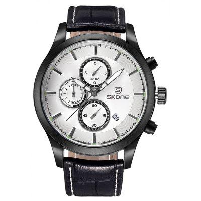 Buy BLACK WHITE Skone 2488 Fashion Decoration Dial Male Watch for $23.72 in GearBest store