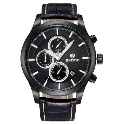 Buy BLACK Skone 2488 Fashion Decoration Dial Male Watch for $23.72 in GearBest store