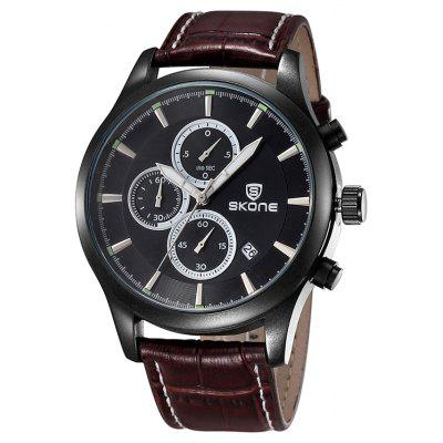 Buy BROWN Skone 2488 Fashion Decoration Dial Male Watch for $23.72 in GearBest store