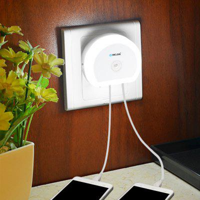 Gearbest Brelong Creative Light Switch + Sensor Led Night Light with Dual Usb (5v) Wall Board Charger Mobile Phone Night Light Eu/Us 110-240V - EU WHITE