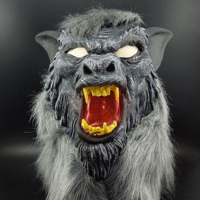 Yeduo Hot Sale Latex Animal Wolf Head Mask with Hair Halloween Party Fancy Scary Dress Costume Horror Anonymous Face Mas