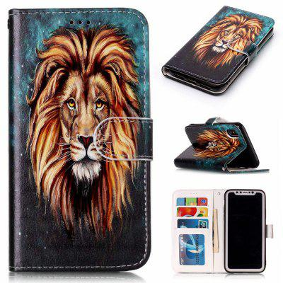 Lion Varnish Relief Pu Phone Case for Iphone x