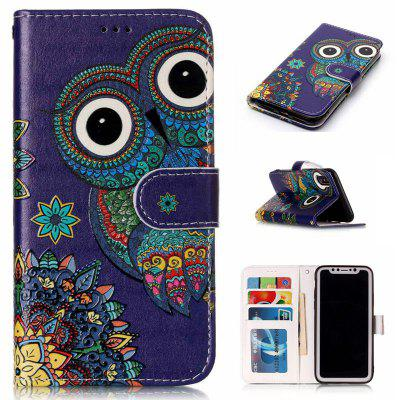 National Wind Owl Varnish Relief Pu Phone Case for Iphone x