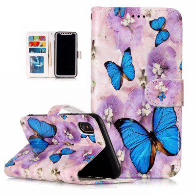 Butterfly Butterfly Varnish Relief Pu Phone Case for Iphone x butterfly bling diamond case