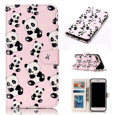 Panda Varnish Relief Pu Phone Case for Iphone 8 Plus 7 Plus