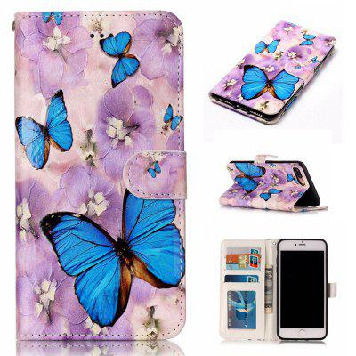Purple Flower Butterfly Varnish Relief Pu Phone Case for Iphone 8 Plus 7 Plus