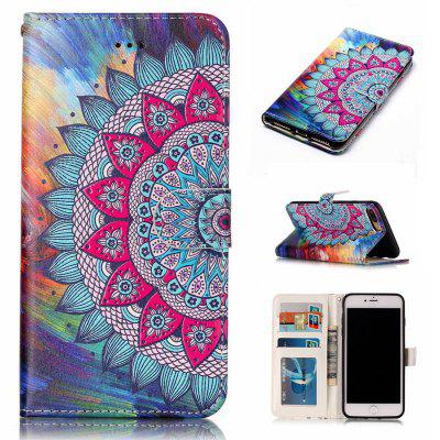 Half Flowers Varnish Relief Pu Phone Case for Iphone 8 Plus 7 Plus
