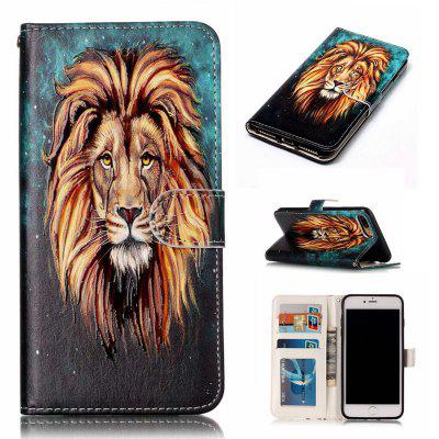 Lion Varnish Relief Pu Phone Case for Iphone 8 Plus 7 Plus