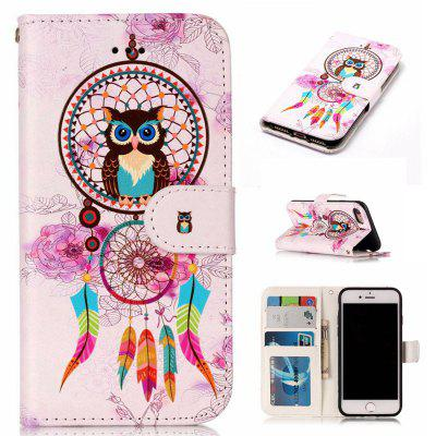 National Wind Owl Varnish Relief Pu Phone Case for Iphone 8 7