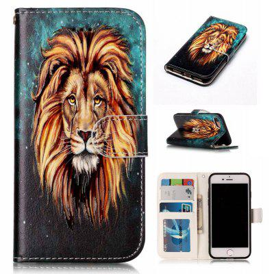 Lion Varnish Relief Pu Phone Case for Iphone 8 7
