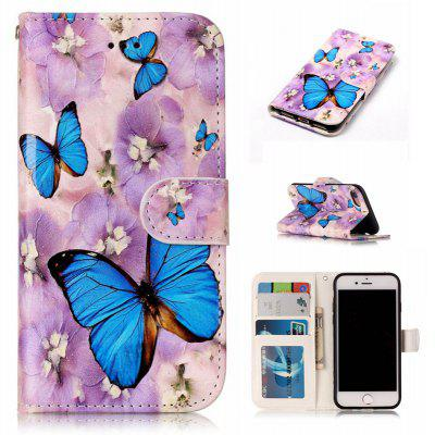 Purple Flower Butterfly Varnish Relief Pu Phone Case for Iphone 8 7