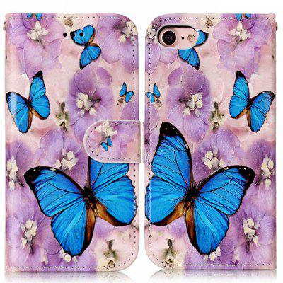 Purple Flower Butterfly Varnish Relief Pu Phone Case for Iphone 8 7 butterfly bling diamond case