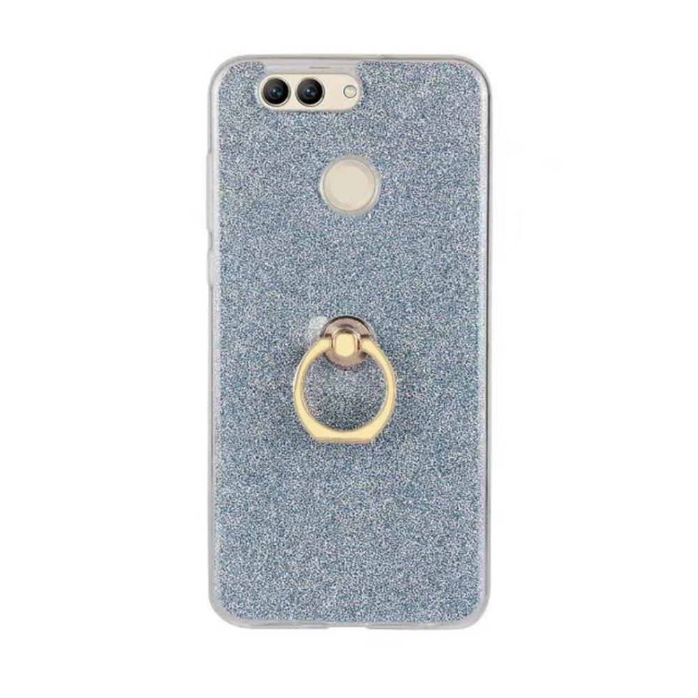 Wkae Soft Flexible TPU Back Cover Case Shockproof Protective Shell with Bling Glitter Sparkles and Kickstand for Huawei Nova 2 Plus