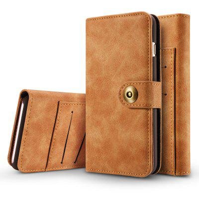 Wkae Retro Style Detachable Magnetic Leather Case Cover with Large Capity Card Cash Slots And Secure Rivet Buckle for Ip