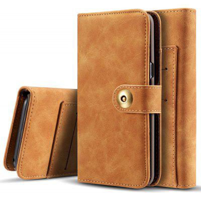 Wkae Retro Style Detachable Magnetic Leather Case Cover with Large Capacity Card Cash Slots And Secure Rivet Buckle for