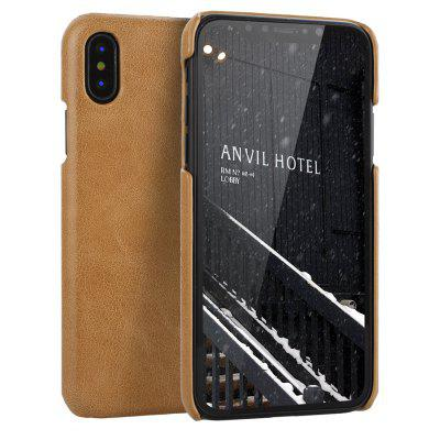 Retro Style Cow Leather Hard Back Case for iPhone x