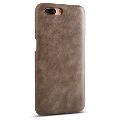 Buy DEEP BROWN Retro Style Cow Leather Hard Back Case for OPPO R11 for $8.99 in GearBest store