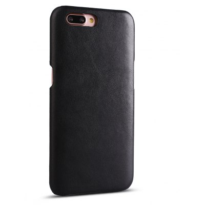 Buy BLACK Retro Style Cow Leather Hard Back Case for OPPO R11 for $8.99 in GearBest store