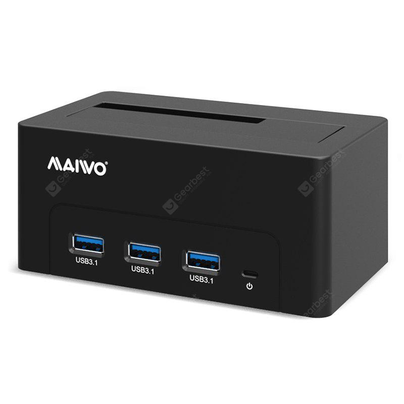 Maiwo K308h Usb 3.1 Hdd Docking Station Usb 3.1 Sata Hard Drive Hdd Docking Station with Usb 3.1 Data Hub for 2.5/3.5 Inch Hdd/Ssd 8T Support, Abs Plastic Shell Black