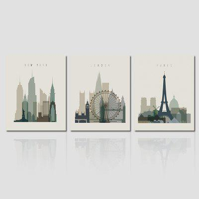 Hx-Art No Frame Canvas Triple Architectural Living Room Decoration Hanging Painting