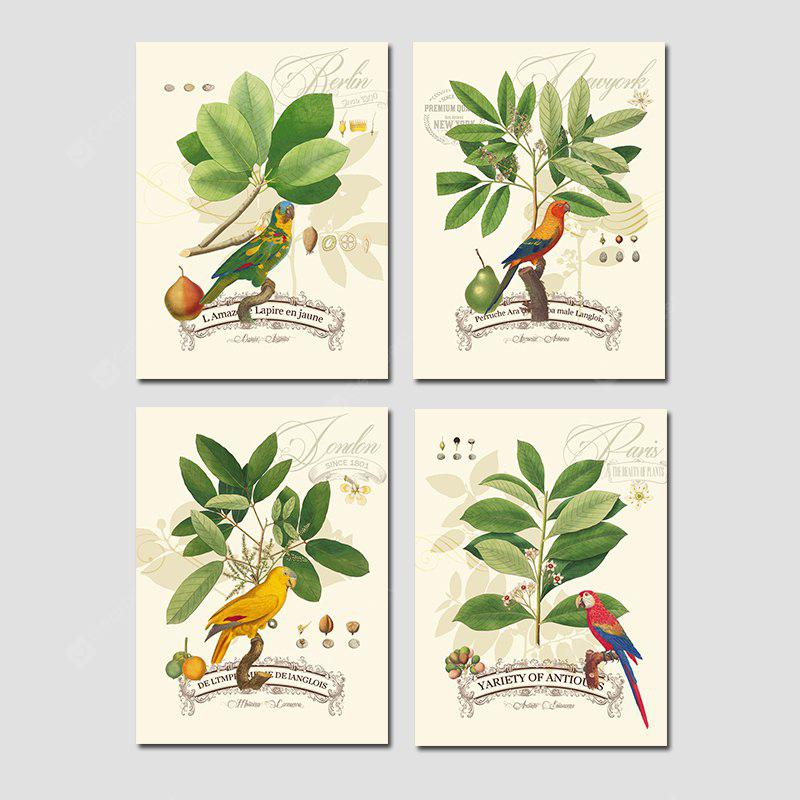 Hx-Art No Frame Canvas Four Sets of Picture Idyllic Leaf Bird Paisagem Sala de estar Decoração Pinturas