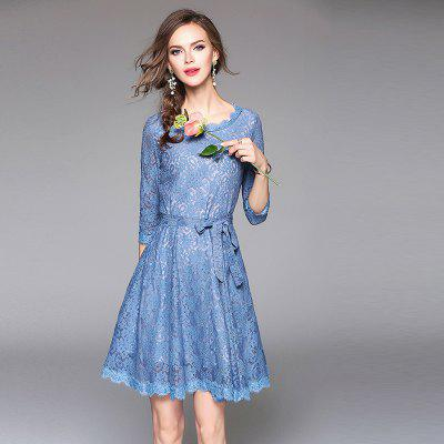 Round Neck Long Sleeve Waist DressWomens Dresses<br>Round Neck Long Sleeve Waist Dress<br><br>Dresses Length: Knee-Length<br>Elasticity: Micro-elastic<br>Fabric Type: Lace<br>Material: Lace<br>Neckline: Round Collar<br>Package Contents: 1 x Dress<br>Pattern Type: Print<br>Season: Spring, Fall<br>Silhouette: A-Line<br>Sleeve Length: 3/4 Length Sleeves<br>Style: Cute<br>Waist: Natural<br>Weight: 0.3900kg<br>With Belt: No