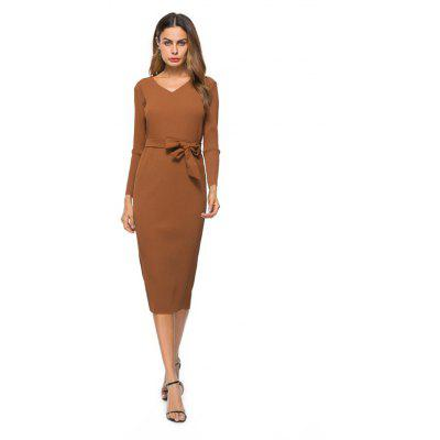 Autumn New Long Sleeved Pleated Dress