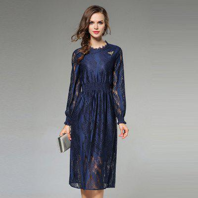 New Fashion Slim Long Sleeves Lace Dress
