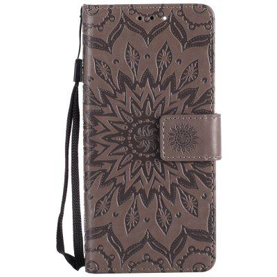 Buy GRAY Sun Flower Printing Design Pu Leather Flip Wallet Lanyard Protective Case for Xiaomi Mi6 for $3.69 in GearBest store