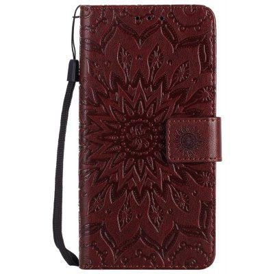 Buy BROWN Sun Flower Printing Design Pu Leather Flip Wallet Lanyard Protective Case for Huawei Y3, 2017 for $3.69 in GearBest store