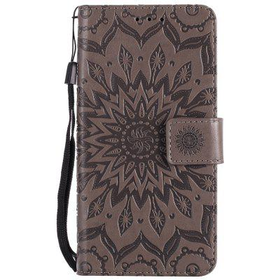 Buy GRAY Sun Flower Printing Design Pu Leather Flip Wallet Lanyard Protective Case for Huawei Y3, 2017 for $3.69 in GearBest store