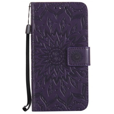 Buy PURPLE Sun Flower Printing Design Pu Leather Flip Wallet Lanyard Protective Case for Huawei Y5, 2017 for $3.69 in GearBest store