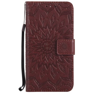 Buy BROWN Sun Flower Printing Design Pu Leather Flip Wallet Lanyard Protective Case for Huawei Y5, 2017 for $3.69 in GearBest store