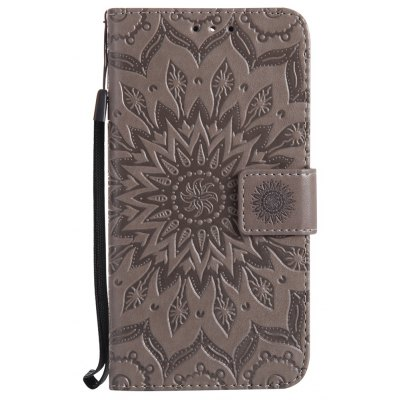 Buy GRAY Sun Flower Printing Design Pu Leather Flip Wallet Lanyard Protective Case for Huawei Y5, 2017 for $3.69 in GearBest store