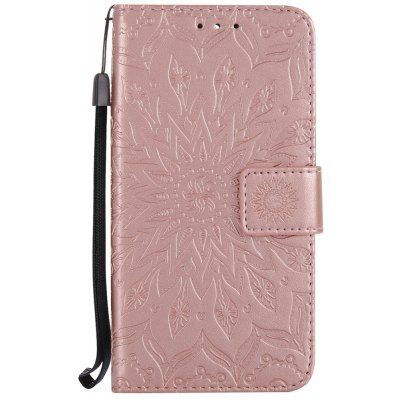 Sun Flower Printing Design Pu Leather Flip Wallet Lanyard Protective Case for Huawei Y5 (2017)