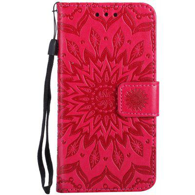 Sun Flower Printing Design Pu Leather Flip Wallet Lanyard Protective Case for iPhone 8 (2017)
