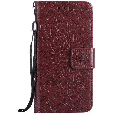 Buy BROWN Sun Flower Printing Design Pu Leather Flip Wallet Lanyard Protective Case for iPhone 8, 2017 for $4.42 in GearBest store