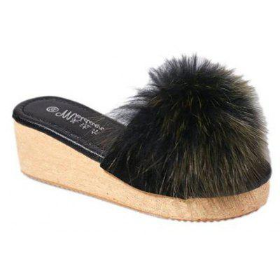 2017 New Fashion Big Hairy Ball Round Head Shallow Slippers