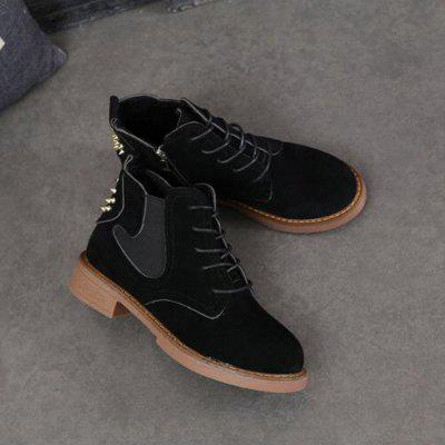 Rivets Elastic Lace-Up Ankle BootsWomens Boots<br>Rivets Elastic Lace-Up Ankle Boots<br><br>Boot Height: Ankle<br>Boot Type: Fashion Boots<br>Closure Type: Lace-Up<br>Gender: For Women<br>Heel Type: Others<br>Package Contents: 1 x Shoes?Pair?<br>Pattern Type: Solid<br>Season: Spring/Fall<br>Toe Shape: Round Toe<br>Upper Material: PU<br>Weight: 1.1200kg