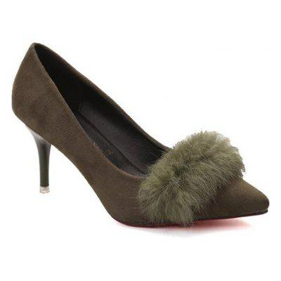 Fuzzy Ball Embellished Pointed Toe High Heels Shoes